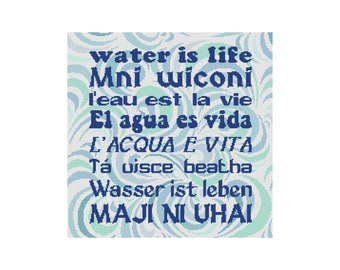 Cross Stitch Pattern, Water Is Life, Native American Cross Stitch, Sioux Tribe, Instant Download PDF, Cowbell Cross Stitch, Standing Rock
