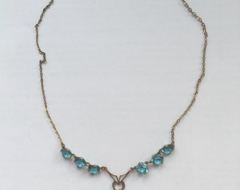 Vintage Art Deco Aqua Blue Glass Necklace With Gold Tone Metal Chain 1930s Costume Jewelry