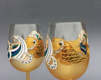 Goldfish Wine glasses, Hand painted glasses, Beach wine glasses,