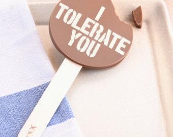 I Tolerate You Chocolate Lolly - Alternative Romantic Gift - I Love You Gift Idea - Girlfriend - Boyfriend - Fairtrade Belgian Chocolate