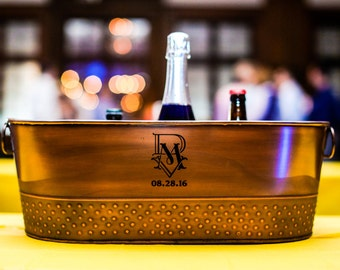 Monogrammed Copper Galvanized Finish Beverage Tub Gift for Weddings, Parties, Birthdays, Housewarming, etc
