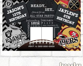 Football Invitation Raiders Invitation 49ers Invitation House Divided Invite Tailgate Party Football Printable Birthday Party Invitation