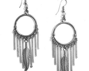 Handmade Feather Dream Catcher Dangle Earrings