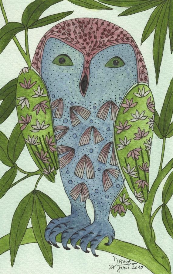 The Paradise Owl - Art Print Of My Original Illustration DIN A5