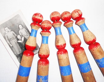 5 Old French Skittles Vintage Painted Bowling Pins 1900s