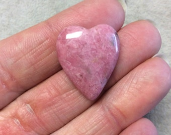 Natural Rhodonite Heart Shaped Flat Back Cabochon - Measuring 20mm x 25mm, 6mm Dome Height - ...