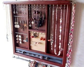 Jewelry holder. earrings display Jewelry organizer. necklace holder. Deep CHERRY RED display shelf. wooden wall mounted jewelry storage.