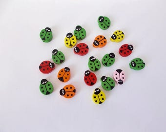 20 ladybugs Wooden Beads Ladybug Beads Assorted Colors Wood Beads Jewelry Making Wood Beads with Clothes  Wooden Animal beads