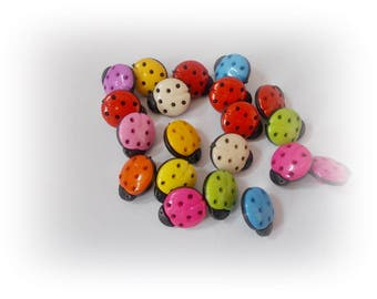 20 ladybug buttons ladybird buttons childrens buttons Plastic Buttons Animal button Shank Rainbow sewing knitting crochet ladybug button