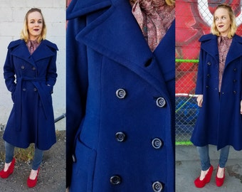 70's Cashmere NAVY Pea Coat Long BELTED Wool Trench Jacket | medium large vintage Dark Blue Double Breasted Wrap OVERCOAT Hippie Boho Reefer