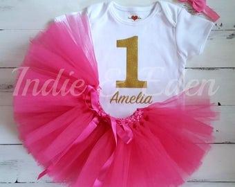 Baby girls 1st Birthday tutu birthday pink personalised gold silver one set flower headband photo prop cake smash