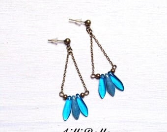 Earrings brass stalactites in glass beads - jewellery Bohemian, ethnic, hippie, minimalist - woman gift idea