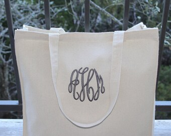 "Monogrammed Canvas Bag, Natural Canvas Tote Bag, Beach Bag, Bridesmaid Gift, 14"" x 15"", Choose Your Monogram Color!"