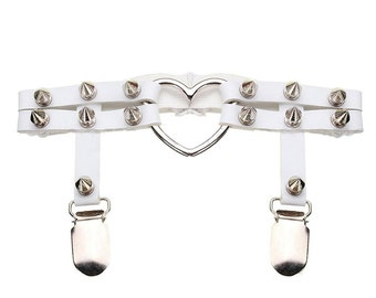 Studded Garter for Thigh High Stockings, spikes & heart o-ring, WHITE