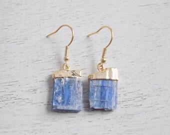 Raw Kyanite Earrings, Blue Kyanite Earrings, Natural Stone Earrings, Gemstone Earrings, Clip-on Earrings, Rustic Blue Earrings, Gift, 7-68