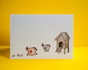 Easter chicken + egg card