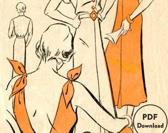 1930s 30s vintage sewing pattern summer sun dress halter deep v plunge back  Medium bust 35 Instant Download