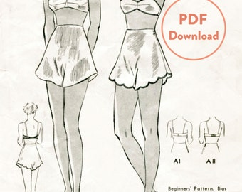 vintage lingerie sewing pattern 1930s 30s bra scallop hem tap shorts bust 32 bust 32 Instant Download