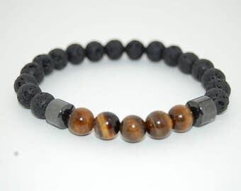 Lava Stone Bracelet,Tiger Eye Stone,Gemstone Bracelet,8mm Lava Stone Beads,Stretch Bracelet,Man,Mens Bracelet,Yoga Bracelet,Healing Stones