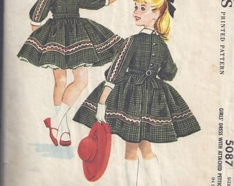 McCalls 5087 from 1959  Vintage Sewing Pattern, Girls Dress with Attached Petticoat.  Chest 24