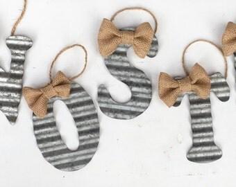 Metal Initial, Rustic Ornament, Tin Letter, Monogram, Christmas Ornament, Rustic Christmas, Initial