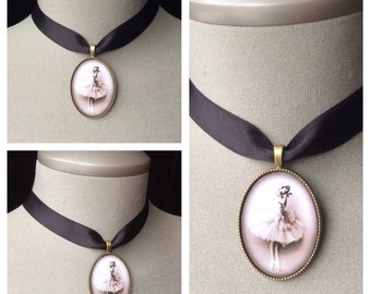 Ballerina cameo, ballet choker, feminine ballet jewelry, gift for dancer, dance recital gift, dance teacher gift, birthday gift, teen girls