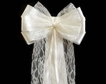 10 x Lacey Wedding Church Pew Decorations - Pew End Bows