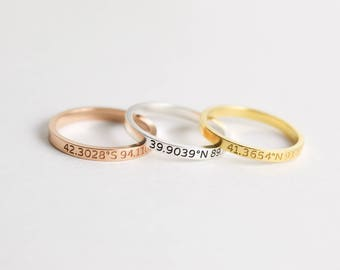 Coordinates Jewelry • Custom Location Stacking Rings • Dainty Latitude Longitude Ring • Skinny Custom Location Coordinates Ring • RM22F30