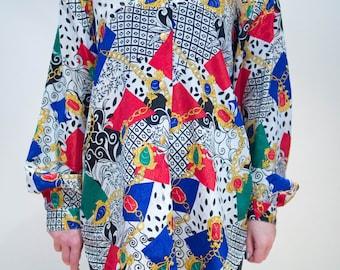 Vintage 80's Decorative Jewel Print Shirt