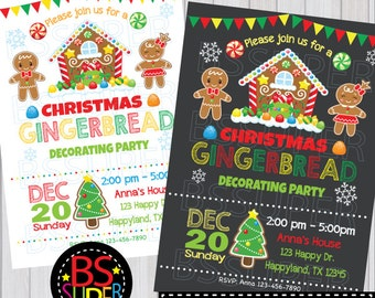 Gingerbread Party Invitation, Gingerbread Invitation, Cookie Decorating Invitation,  Gingerbread House Birthday, Christmas Cookie Exchange