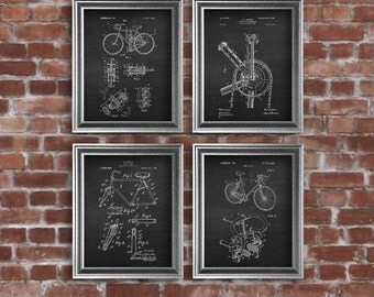 Bicycle Decor, Urban Decor Patent Art Prints set of 4 prints. Biking Decor, Gift for bicycle rider, Bicycle gift for bicyclist Cyclist