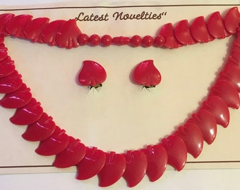 Vintage Deadstock 1950's / 60's Red Novelty Leaf Necklace & Earring Set