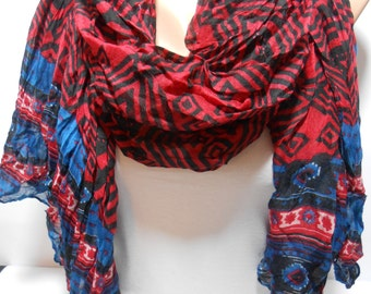Navy blue and red tribal scarf Womens Scarf Aztec style crinkle scarf lightweight scarf Women Fashion Accessories Gift Ideas For Her