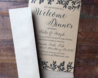 """Printable """"welcome dinner"""" invitation, rehearsal dinner, bridal or baby shower invite, downloadeable customizable text and colors"""
