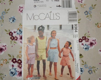 Girls Tank Top, Halter Top and Shorts Pattern - 1998 McCall's 9364