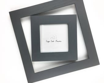 4x4 Picture Frame - Charcoal - Frame for 4x4 Tiles, Instagram Prints or Needlework. Solid Wood Frame.