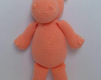 Amigurumi hippo, crochet hippo, hippo plush, stuffed hippo, hippo stuffed animal, pastel hippo, handmade stuffed animal, soft hippo toy