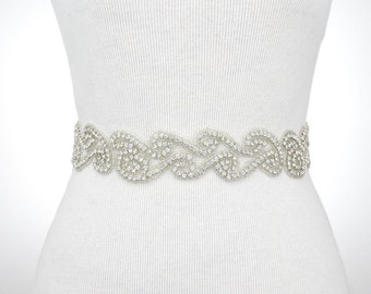 Dress Sash Belt, Bridal Bridesmaid Sash, Wedding Dress Belt, Rhinestone Applique, Sash Belt,  Wedding Dress Sash Belt 1145