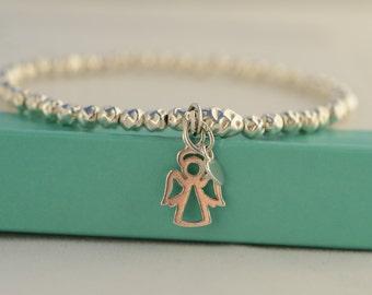Silver Angel bracelet. Angel charm bracelet.  Sterling Silver Angel bracelet. Stretch bracelet. Stacking bracelet. Christmas gift