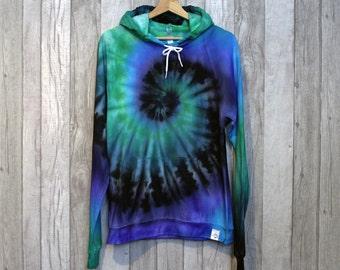 TyreDyes Tie Dye Hoodie Black/Blue/Green Spiral