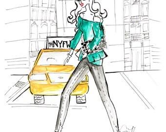NYFW - Fashion illustration Fine Art Print 5x7, 8x10, 11x14, 13x19