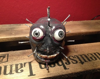 "OOAK Monster sculpture horror doll dream catcher ""Pin-Hat"""