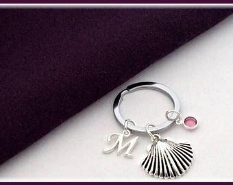 Seashell Keyring, Personalized keyring, birthstone Keyring, silver keyring, Keyring gifts,  seashell Keychain, sea shell Keychain accessory,