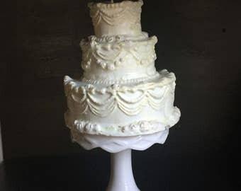 Vintage wedding cake candle, three tier cake, Cake candle