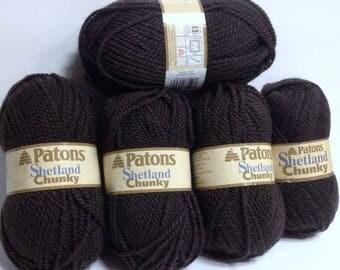 Patons Shetland Chunky Yarn, Earthy Brown Wool Blend Yarn Destash Vintage Patons Thick Yarn Bundle for Knitting & Crocheting Handmade Gifts