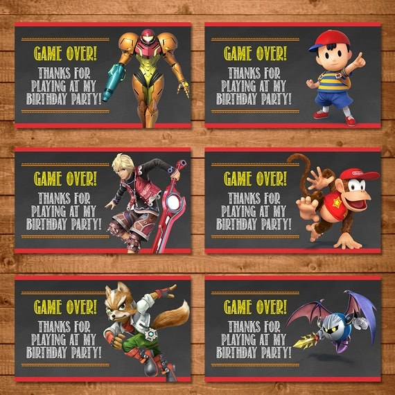 Super Smash Brothers Party Tags - Super Smash Brothers Favor Tags - Super Smash Brothers Birthday - Video Game Birthday Party - Game Over B