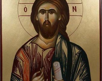 Jesus Christ Pantokrator Hand-Painted Byzantine Orthodox Icon on Wood 40 x 30cm