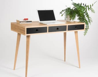 Small Modern Desk, Bureau, Dressing Table, Oak Wood, Mid Century Modern,