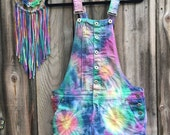 Colorful One of a Kind Tie-Dye Overalls size Medium-all sizes available
