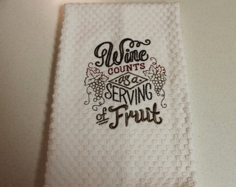 Wine Kitchen Towel, Embroidered Kitchen towel, kitchen towel, Waffle Towel, Home, Wine, Wine lover, kitchen, gift, handmade, embroidered